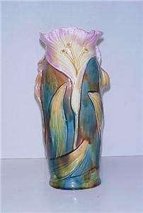 MAJOLICA ART NOUVEAU VASE LADY HEAD IN LILY FLOWER