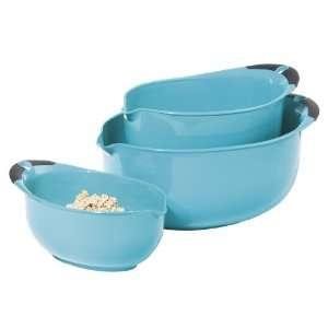 Oggi Oval 3 Piece Mixing Bowl Set   Aqua