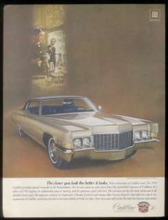 1970 silver Cadillac Coupe deVille car photo ad