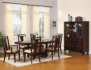 Modern Dining Room Set Table Chairs China Cabinet Dark