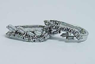 VS GH Baguette Round Diamond Estate Earrings 14K White Gold French