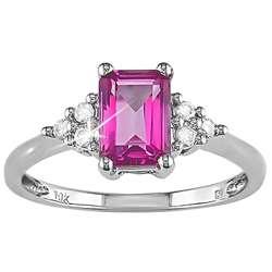 10k Gold Pink Topaz and 1/10ct TDW Diamond Ring