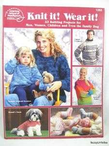 Wear it Knit Pattern Book ~ Adult, Baby, Dog Clothing ~ 33 Projects
