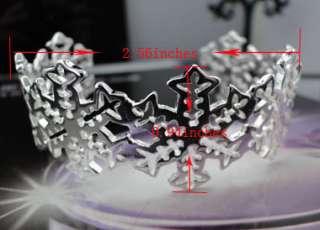 925 Sterling Silver Snowflake Cuff Charm Bracelet JB199