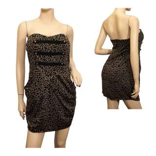 Jr Plus Size Animal Print Military Dress Brown