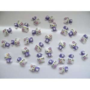Nail Art 3d 30 Pieces Purple Hello Kitty for Nails, Cellphones 1.3cm