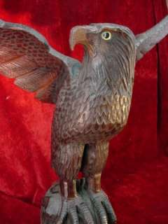 EAGLE SCULPTURE Hand Carved WOOD Statue CARVING Bird NICE
