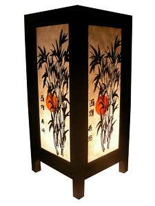 RED MOON BAMBOO TABLE LAMP OLD DESIGN ASIAN ORIENTAL