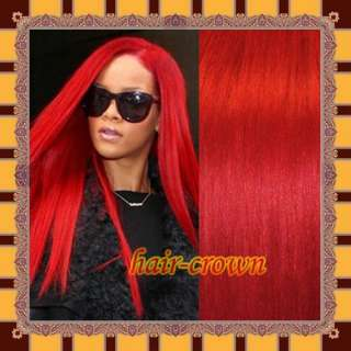 Full Head Clip In On REMY Human Hair Extensions #Red