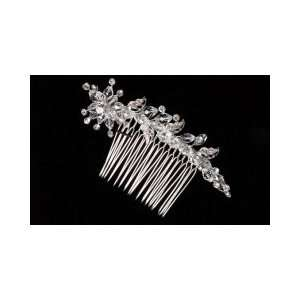 Side Comb with Crystal Teardrops and Rhinestones 6066