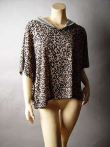 ANIMAL Leopard Print Casual Lounge Hoodie Loose Fit Sweater Knit Top