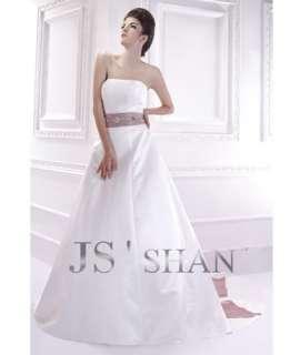 Jsshan Empire Sash Satin Strapless A line Bridal Gown Wedding Dress