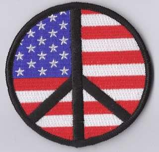 USA PEACE SIGN PATCH AMERICAN BIKER VEST FLAG P640