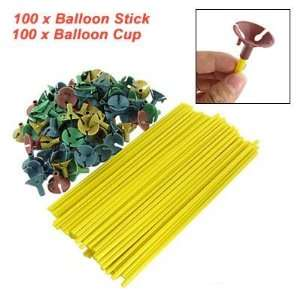 100 Pcs Yellow Plastic Balloon Stick with Multicolor Cups