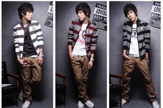 New Mens Stylish Slim Fit Stripe Sweater Coat 3 colours 3 sizes
