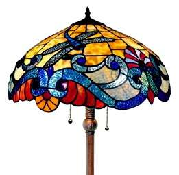 Style Stained Glass Contemporary Floor Lamp New Yellow Red Blue
