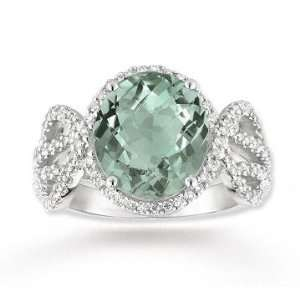 White Gold 4.20 Carat Green Amethyst 1/2 Carat Diamond Ring: Jewelry