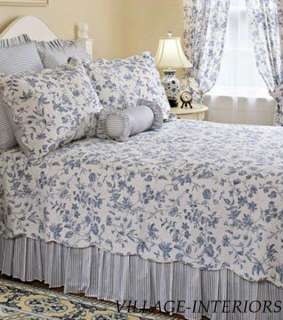 BRIGHTON FRENCH COUNTRY BLUE & WHITE TOILE CAL / KING QUILT SET  100%