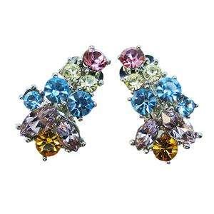Flower Drop Necklace Earring Multi Swarovski Crystal Floral Jewelry