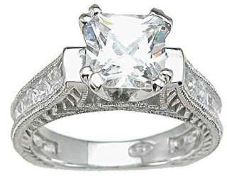 3Ct. Cubic Zirconia 925 Sterling Silver Princess Wedding Set