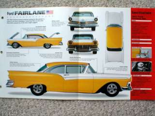 1957 FORD FAIRLANE Custom HOT ROD SPEC SHEET/Brochure