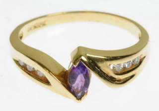 LADIES 10K YELLOW GOLD DIAMOND AMETHYST ESTATE RING 152106