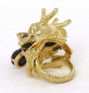 CHUNKY 18K GOLD, DIAMONDS STAR RUBY ASIAN DRAGON RING