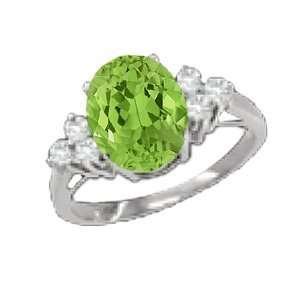 1.38 Ct Oval Green Peridot Diamond Sterling Silver Ring
