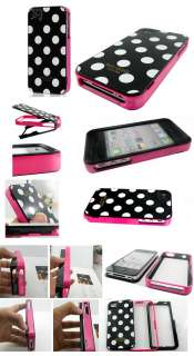 White Polka Dots 3in1 Cover Case for iPhone 4 4G Black+Screen