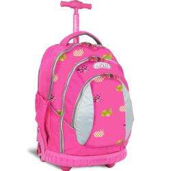 World Pink Rabbit 17 inch Kids Ergonomic Rolling Backpack