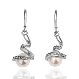New Hot 18K Gold Gp Swarovski crystal Pearl Earrings