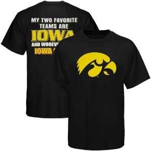 NCAA Iowa Hawkeyes Black Favorite Team T shirt  Sports