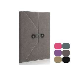 Envelope Button Clip PU leather case pouch for ipad 2 Grey