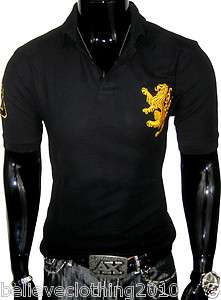 RIFLESSI BLACK RUGBY LUXURY DESIGNER POLO SHIRT BIG & TALL SOFT CLUB