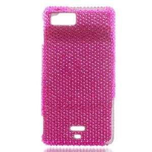 Hot Pink Crystal Bling Hard Case Snap on Cover for Motorola Droid X