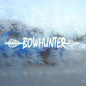 BowHunter White Decal Bow Deer Hunter Hunting Car White