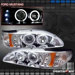 Ford Mustang Headlights Chrome Blue Halo Pro Headlights Amber 1994