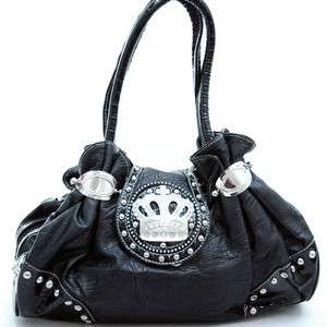 New Shoulder bag BLACK Studded & Rhinestone Crown Purse Handbag