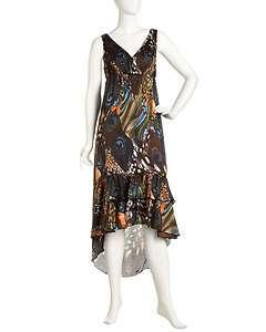 Romeo & Juliet Couture Peacock Print Maxi Dress