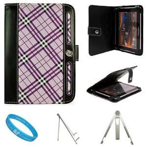Executive Leather Carrying Case Cover, Purple Plaid for Blackberry