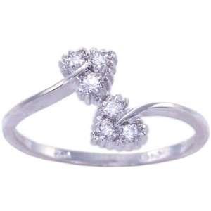 14K White Gold Diamond Promise Ring Diamond, size8
