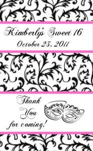 144 Sweet 16 Hersheys Miniature Candy Wrapper Label