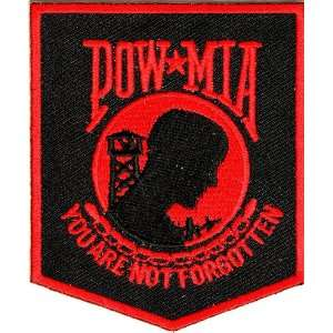 POW MIA Patch Black Red, 2.5x3 inch, small embroidered