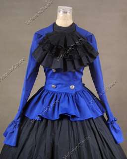 Civil War Victorian Cotton Satin Day Dress Ball Gown C009 M