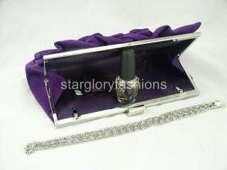 Purple Velvet Designer Rose Wedding Clutch Purse ECV 068473