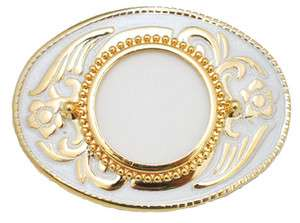 NEW! Western Silver Dollar Belt Buckle, Gold & White
