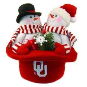 NCAA Oklahoma Sooners Plush Snowmen Top Hat Christmas Table Decoration