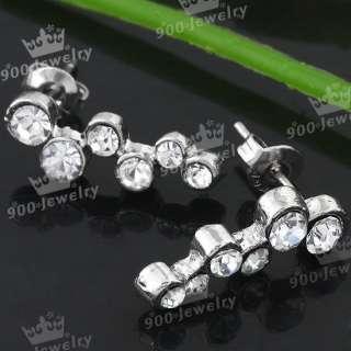 Rhinestone Bead Dangle Ear Stud Earring Fashion Jewelry 2PCS