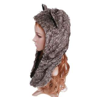 Lovely Cartoon Animal Grey Wolf Plush Soft Warm Cap Hat Earmuff Scarf