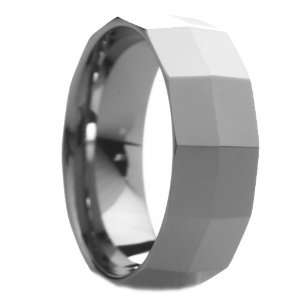 8 mm Mens Tungsten Carbide Rings Wedding Bands Faceted Knife
